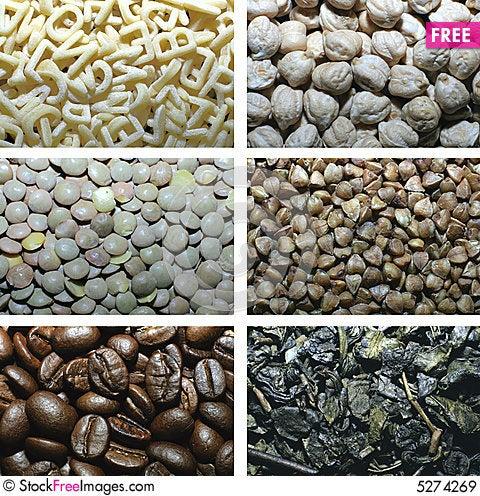 Free Pasta, Peas, Lentil, Buckwheat, Coffee, Tea Royalty Free Stock Images - 5274269
