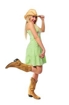 Free Beautiful Teen Girl With Hat And Boots Stock Photo - 5270160