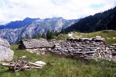 Free Ruined Alpine Huts Royalty Free Stock Image - 5271666