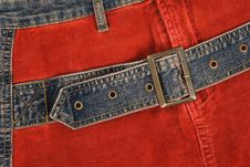 Free Corduroy Clothing With Denim Belt Stock Photos - 5271963