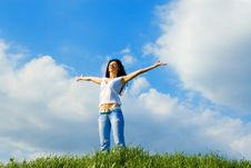 Free Happy Young Woman Dreams To Fly Stock Photography - 5272292