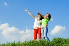 Free Two Young Women On A Green Meadow Royalty Free Stock Photo - 5272515