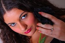Woman Holding A Black Rose Stock Photos