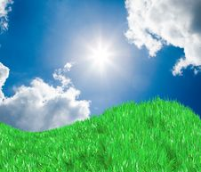 Free Fresh Green Field On Blue Sunny Sky Background Royalty Free Stock Photography - 5272627