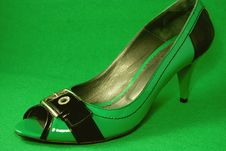 Green High-heeled Shoe Stock Photography