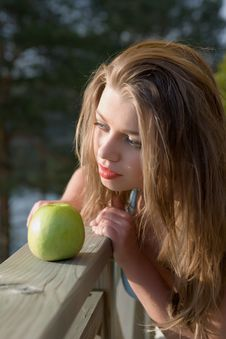 Free Girl With Apple On Sunset Stock Photo - 5273680