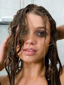Girl Take Shower Royalty Free Stock Photo