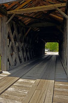 Inside Of Covered Bridge Stock Photo