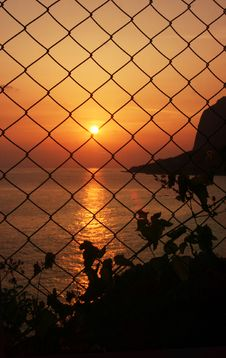 Free Sunset Behind The Grid Royalty Free Stock Photos - 5274998