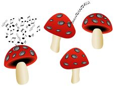 Free Mushrooms And Music Royalty Free Stock Image - 5275696