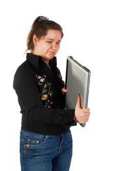 Free Girl Holds Closed Laptop Stock Photos - 5276963