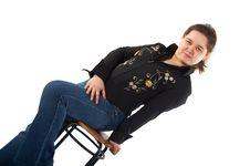 Free Girl Posing On Stool Royalty Free Stock Images - 5276989