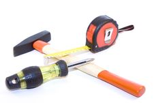 Tape-measure, Hammer, Screwdriver Royalty Free Stock Image