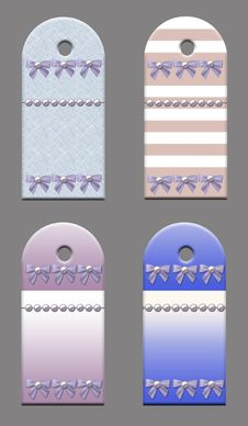 Gift Tags With Bows And Pearls. Stock Photos