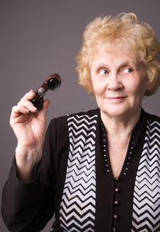 Free The Elderly Woman Witn Binocular. Stock Photo - 5277420