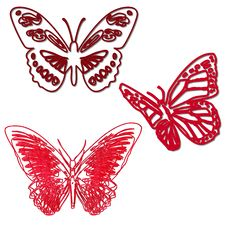 Butterflies Outline Red Royalty Free Stock Photo