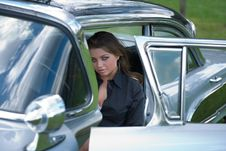 Free Young Girl In Old-fashioned Car Stock Photography - 5278412