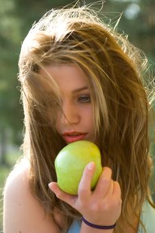 Free Girl With Apple Stock Photo - 5278450