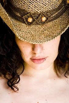 Woman With Hat Stock Photo