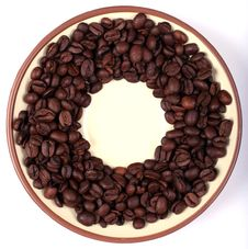 Free Saucer With Coffee Beans Stock Image - 5279701