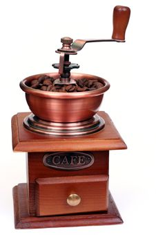 Free Retro Coffee Grinder With Beans Royalty Free Stock Photos - 5279728