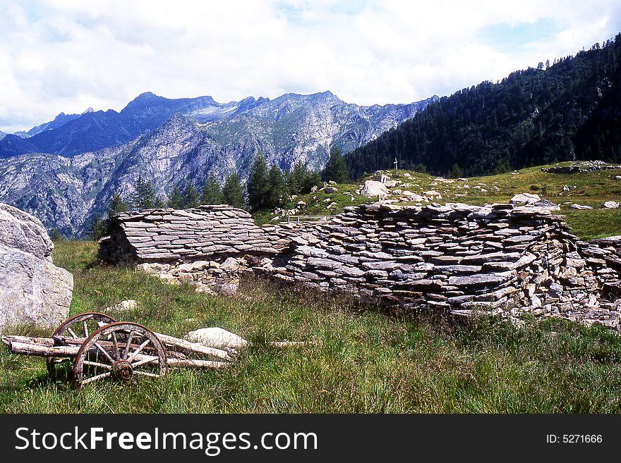 Ruined alpine huts