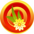 Free Design Color Floral Button With Flower And Leafs Stock Photography - 5285702