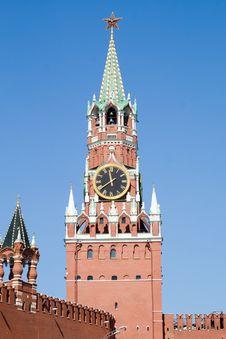 Kremlin Tower With Clock Stock Photo