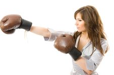 Free The Young Businesswoman Attacks From Competitors. Royalty Free Stock Images - 5281789