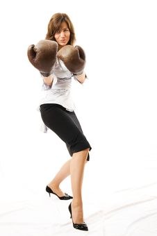 Free The Young Businesswoman Defends From Competitors. Royalty Free Stock Images - 5281809