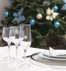 Free Table Set For Christmas Royalty Free Stock Photo - 5282075