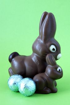 Free Two Chocolate Easter Bunnies Stock Image - 5282151