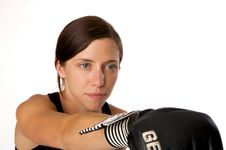 Free Woman In Gym Clothes, With Boxing Gloves, Strength Stock Photo - 5282430