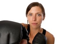 Free Woman In Gym Clothes, With Boxing Gloves, Strength Stock Images - 5282484