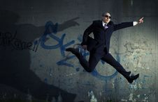 Free Jumping Businessman. Royalty Free Stock Images - 5282529