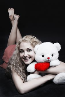 Free Girl With A Teddy-bear Royalty Free Stock Photos - 5282568