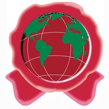 Free Red Seal With Globe Royalty Free Stock Photography - 5282607