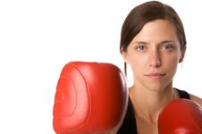 Free Woman In Gym Clothes, With Boxing Gloves, Strength Royalty Free Stock Photos - 5282608