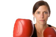 Free Woman In Gym Clothes, With Boxing Gloves, Strength Royalty Free Stock Photo - 5282615