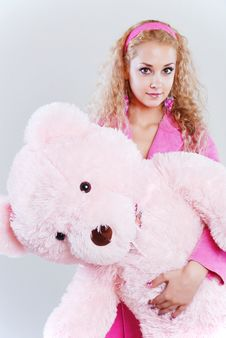 Free Girl With A Teddy-bear Royalty Free Stock Photos - 5282728