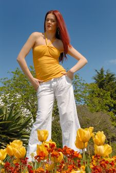 Free Cute Young Lady In In Gardens Stock Photo - 5282820