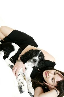 Free Woman With Her Puppy Stock Images - 5284364