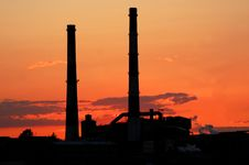 Free Factory At Sunset Royalty Free Stock Image - 5285346