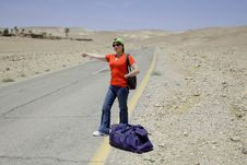 Free Hitchhiking Woman Stock Photos - 5285833