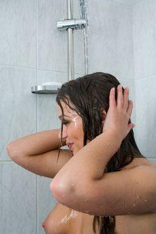 Girl Take Shower Stock Photo