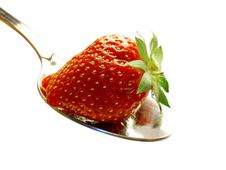 Free Strawberry On Spoon Royalty Free Stock Photography - 5288527