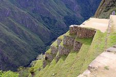 Steep Terraces In Machu Picchu Royalty Free Stock Photography