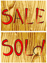 Free  Sale  And  Sold  On Wood Stock Photos - 5290963