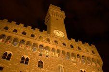 Free Tower Of The Vacca At Night, Piazza Della Signoria Stock Photos - 5290193