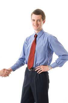 Free Handshake. Young Business Man Smiling. Royalty Free Stock Photo - 5291105